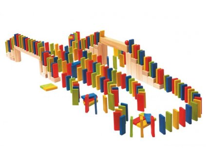 Dřevěné barevné domino 200 ks