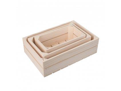 Dřevěné bedýnky smrk - komplet 3 ks