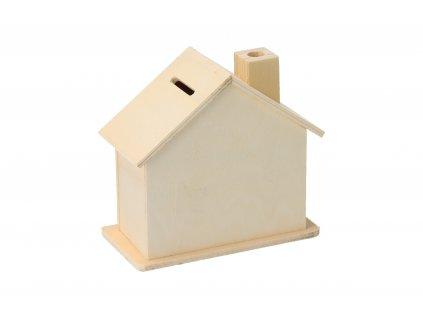 Dřevěný domeček pokladnička