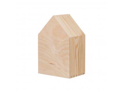 Dřevěná polička domeček otevřená - malá