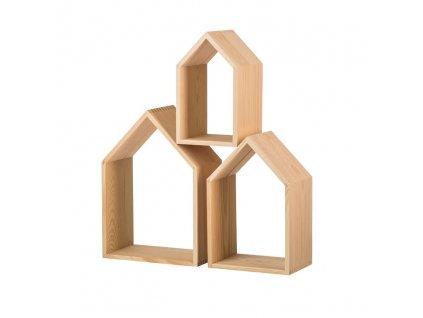Dřevěná polička domeček otevřená - sada 3 ks