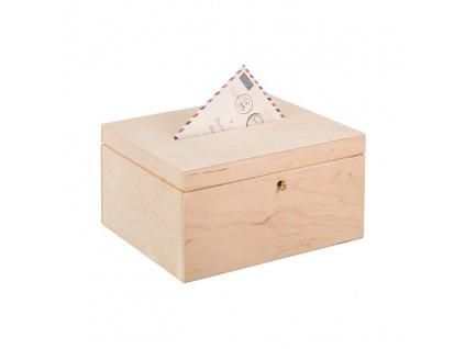 Dřevěný box na svatební přání na klíč