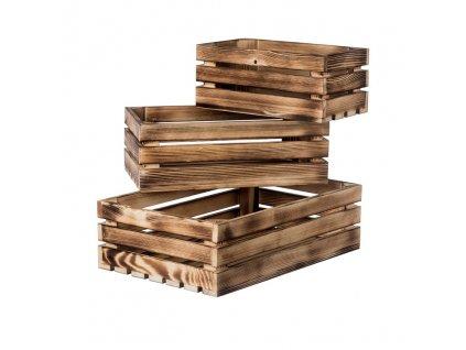 Opálené dřevěné bedýnky smrk II - komplet 3 ks