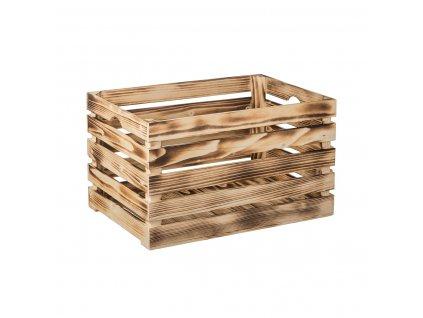 Opálená dřevěná bedýnka 52 x 33 x 32 cm