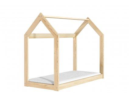 Dřevěná postel domeček 160 x 80 cm přírodní + rošt