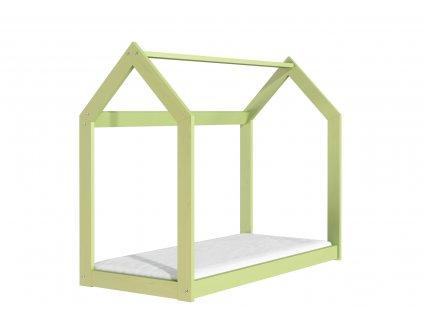Dřevěná postel domeček 160 x 80 cm zelená + rošt