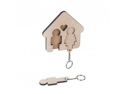 Dřevěný věšák na klíče - pro páry
