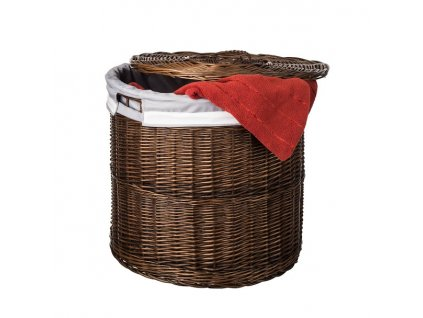 Proutěný koš na prádlo tmavý s víkem