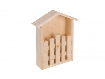 Dřevěná polička domeček s plotem
