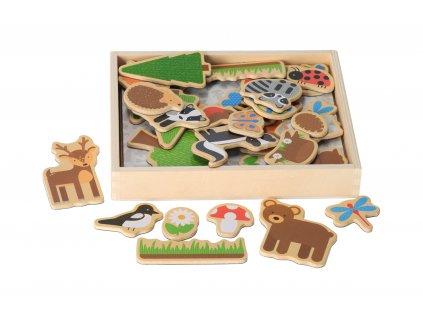 Dřevěné magnetky lesní zvířátka