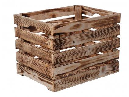 Opálená dřevěná bedýnka 40 x 30 x 30cm