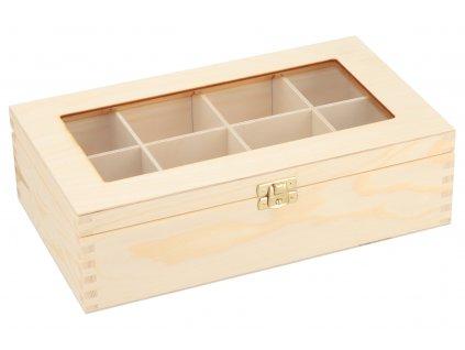 Dřevěná krabička s plexisklem - 8 přihrádek