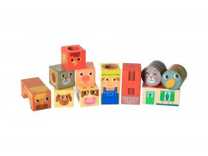 Dřevěné zvukové kostky - Farma