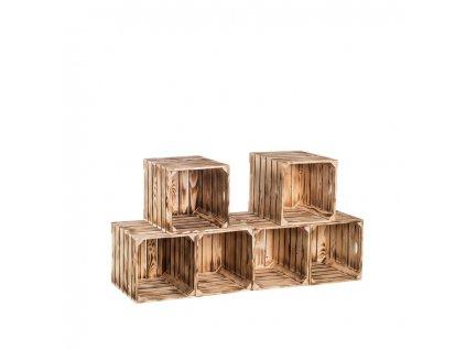 Dřevěné opálené bedýnky botník 120x60x35 cm