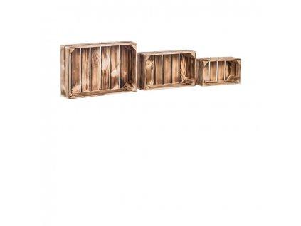Dřevěné opálené bedýnky polička smrk