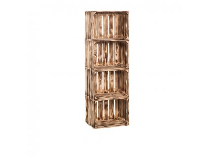 Dřevěné opálené bedýnky regál 120 x 40 x 24 cm