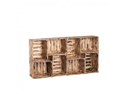 Dřevěné opálené bedýnky knihovna 70 x 140 x 24 cm