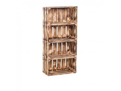 Dřevěné opálené bedýnky regál 88 x 40 x 20 cm