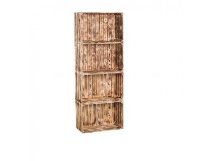 Dřevěné opálené bedýnky regál 156 x 60 x 24 cm