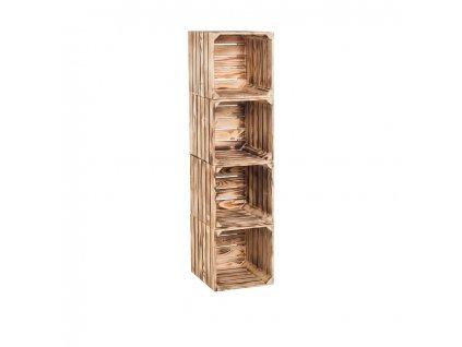 Dřevěné opálené bedýnky regál 120 x 30 x 35 cm