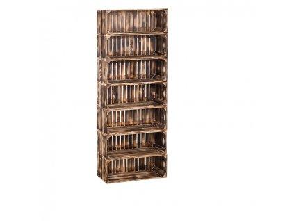 Dřevěné opálené bedýnky regál 154 x 60 x 24 cm