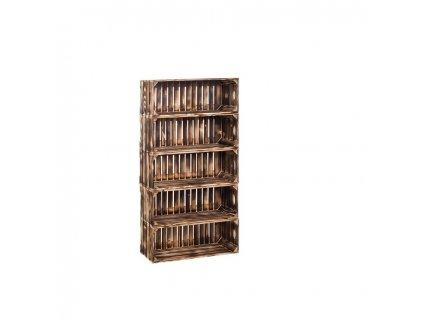 Dřevěné opálené bedýnky regál 110 x 60 x 24 cm