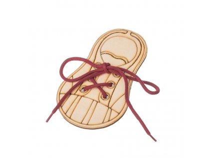 Dřevěná bota - zavaž si tkaničku 1ks