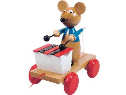 Dřevěná tahací myš s xylofonem