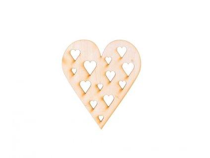 Dřevěné srdce s vyřezanými srdcemi 10 x 8,5 cm
