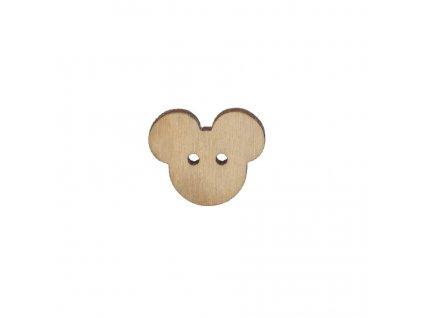 Dřevěný knoflík Mickey Mouse 1,5 x 2 cm