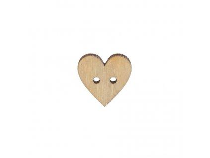 Dřevěný knoflík srdce malé 1,5 cm