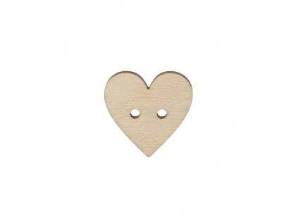 Dřevěný knoflík srdce velké 2,5 cm