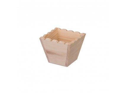 Dřevěný ozdobný květináč - čtverec malý