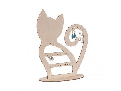 Dřevěná kočka na šperky