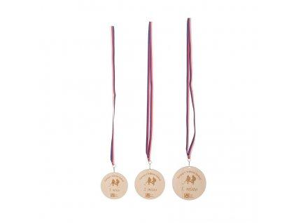 Set dřevěných medailí 1. - 3. místo