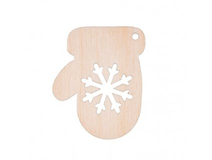 Dřevěná vánoční ozdoba - rukavice