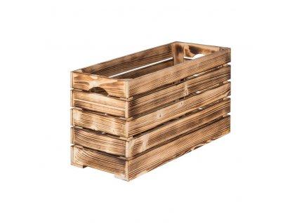 Opálená dřevěná bedýnka 60 x 22 x 30 cm
