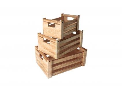 Dřevěné bedýnky natural - set 3 ks