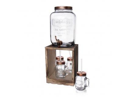 Skleněná nádoba 8,8 l s kohoutkem a 4 sklenicemi ve stojanu