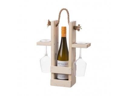 Dřevěný nosič na víno a dvě sklenice
