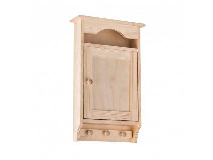 Dřevěná skříňka na klíče s věšákem