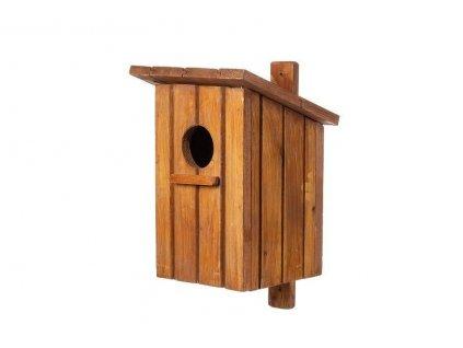 Dřevěná ptačí budka mořený smrk