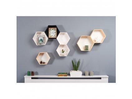 Dřevěné poličky - plástev medu 3 ks