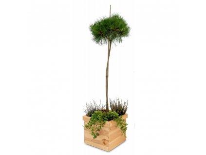 Dřevěný čtvercový květináč 32 x 32 x 25 cm