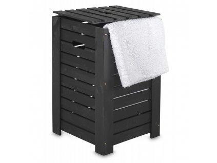 Dřevěný koš na prádlo - černý