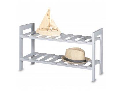 Dřevěný botník - šedý