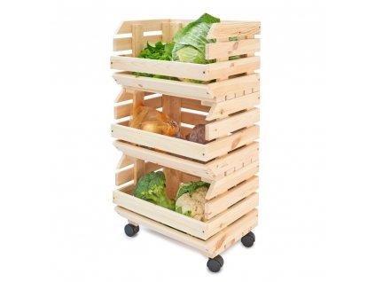 Dřevěný bedýnkový vozík na ovoce a zeleninu