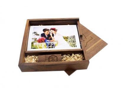 Krabička na fotografie a USB - tmavá