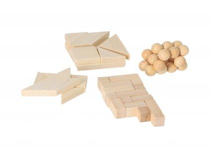 Dřevěné hlavolamy v pytlících- set 4 ks