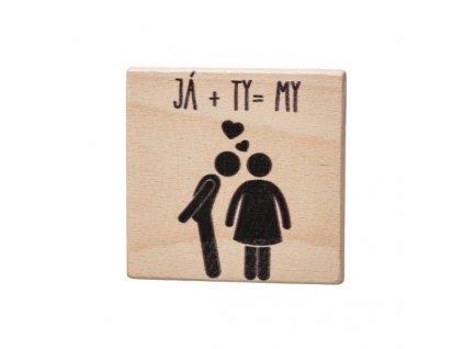 Dřevěný podtácek - Já + Ty = My